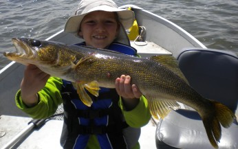 "Carter was big enough to tackle this 28"" walleye"
