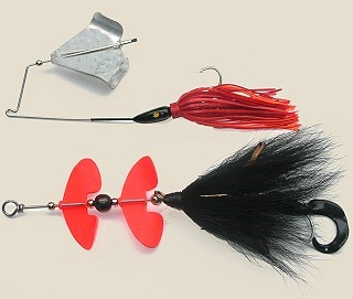 Buzzbaits resemble either a standard spinnerbait or inline spinner with the exception of a rotating propeller blade replacing a flat blade. Buzzbaits are a topwater spinner and must be retrieved rapidly to produce a loud clacking sound as they move across the surface. Excellent lure for bass and pike.